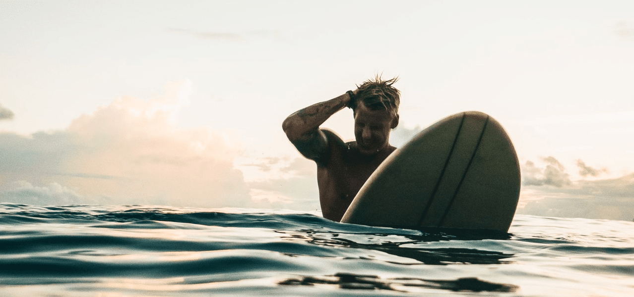 Young Man Surfboard